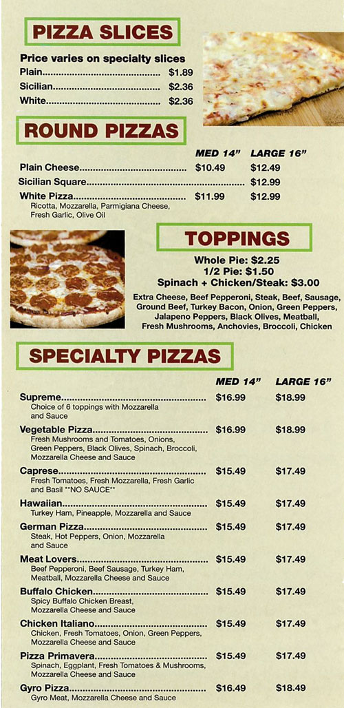 NYC Village Pizza Menu