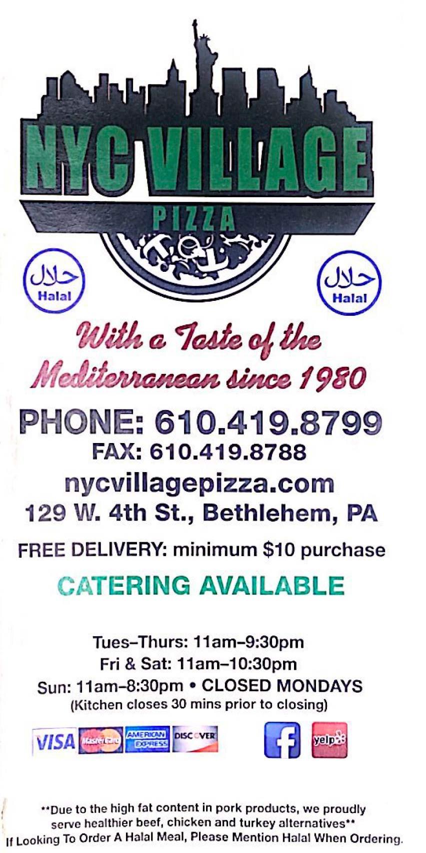 NYC Village Pizza Menu